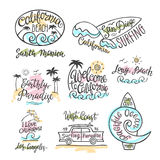 Vector set of logos, badges and emblems with hand inscription California beach. Stock Photography