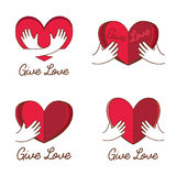 Vector Set of logos for charity. The work of volunteers. Give love Stock Photography