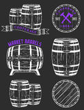 Vector set and logos cooperage workshops Stock Photos
