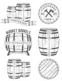 Vector set and logos cooperage workshops Royalty Free Stock Photo