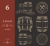 Vector set and logos cooperage workshops Royalty Free Stock Image