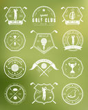 Vector set of logos and icons golf clubs Royalty Free Stock Image