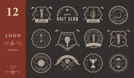 Vector set of logos and icons golf clubs Royalty Free Stock Photo