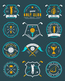 Vector set of logos and icons golf clubs Royalty Free Stock Photography