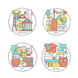 Vector set of logos literature, music, art, architecture. Modern thin line icons. The modern concept of a collection of vectors. Unique design elements for Royalty Free Stock Photo