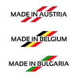 Vector set logos Made in Austria, Made in Belgium and Made in Bu Royalty Free Stock Images