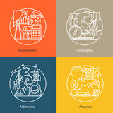 Vector set of logos mathematics, geography, astronomy, analytics. Royalty Free Stock Image