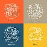 Vector set of logos mathematics, geography, astronomy, analytics. Royalty Free Stock Image