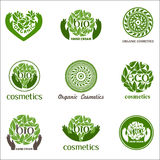 Vector set of logos with text. Organic, eco, bio logos on a white background recommended for cosmetics, hand cream. Vector set of logos with text Vector Illustration