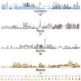 Abstract vector set of London, Paris, Berlin and Rome city skylines in bright color palettes. Vector set of London, Paris, Berlin and Rome city skylines in Stock Image