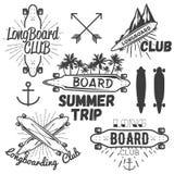 Vector set of longboard skateboard emblems, labels, badges. Skateboarding concept illustration Royalty Free Stock Photos