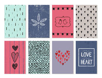 Vector set of love cards, posters, banners. Hand drawn hearts, backgrounds, leaf, birds Royalty Free Stock Images