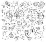 Vector set of love linear icons  on white background. Stock Image