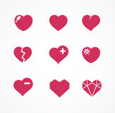 Vector set of love signs. 9 Hearts icons. Stock Photo