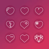Vector set of love signs. 9 Hearts icons. Stock Images