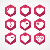 Vector set of love signs. 9 Hearts icons. Royalty Free Stock Images