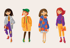 Vector set with lovely hand drawn girls in casual clothes and oversized sweaters and cardigans, boyfriend jeans and sneakers, sock Royalty Free Stock Photos