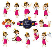 Vector set with lovely little cute girl hand drawn in various poses and situations. Charming brunette character in pink skirt, goo vector illustration