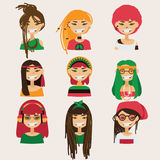 Vector set with lovely rastafarian girls characters. Heads with different hairstyle, color and accessories. Stock Image