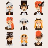 Vector set with lovely smiling steampunk girls portraits. Stock Photos