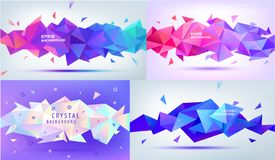Vector set of low poly, facet, 3d geometric shapes. Modern multicolor backgrounds, horizontal banners. Illustration of. Abstract texture with triangles. Pattern vector illustration
