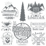 Vector set of lumberjack and woodsman vector labels in vintage style. Wood work, manufacture emblems templates. Royalty Free Stock Photography