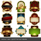 Vector set: luxurious labels. Set of nine gold-framed labels Royalty Free Stock Photos