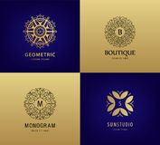 Vector set of luxury monogram, vintage logos. Abstract circle ornament icons for cosmetics, hotel, spa stock illustration