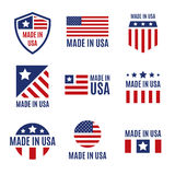 Vector set of made in the USA labels and badges on white background. Vector set of isolated made in the USA labels and badges on white background Royalty Free Stock Images