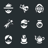 Vector Set of Magic Icons. Magician, fairy, sorceress, fireworks santa potion gin focus magic lamp Stock Photo
