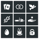 Vector Set of Magic and Illusion Icons. Royalty Free Stock Images