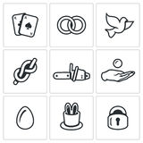 Vector Set of Magic and Illusion Icons. Deck, Focus, Bird, Rope, Sawing, Finance, Product, Prop, Locked. Royalty Free Stock Photos