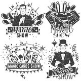 Vector set of magic show labels in vintage style isolated on white background Stock Images