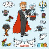 Vector set with magician and objects for magic tricks. Cartoon colorful items Royalty Free Stock Photography