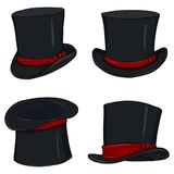 Vector Set of Magicians Black Cylinder. Hat with Red Ribbons Royalty Free Stock Photos