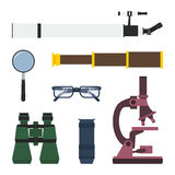Vector set of magnifying tools. Vector set of magnifying and research equipment: telescope, magnifier, pirate spyglass, glasses, binoculars, monocular Royalty Free Stock Photo