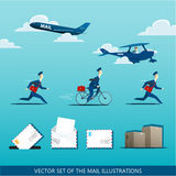 Vector set of the mail illustrations with postman, air mail plan Royalty Free Stock Photos