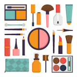Vector set make up brushes and beauty fashion cosmetic icon. Stock Image
