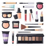 Vector set make up brushes and beauty fashion cosmetic icon. Stock Photography