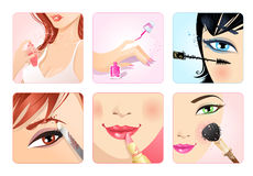 Vector set of make-up square icons. Stock Image