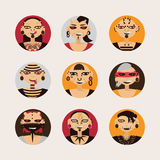 Vector set with male characters, drawn with body modifications, piercing and tattoo in circle shapes. Portraits in various hairsty. Le and styles of body Royalty Free Stock Photography