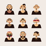 Vector set with male characters, drawn with body modifications, piercing and tattoo. Portraits in various hairstyle and styles of. Body decoration Royalty Free Stock Photos