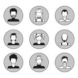 Vector set of male and female face avatars. Design elements, icons in flat style Stock Images