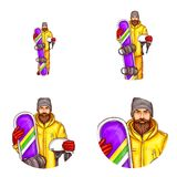 Vector set of male avatars in pop art style Stock Photo