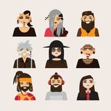 Vector set with male subcultural characters. Rasta, body modification, hipster, goth, visual kei guys. Royalty Free Stock Image