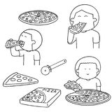 Vector set of man eating pizza Stock Photos