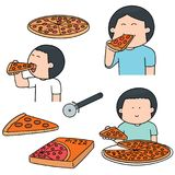 Vector set of man eating pizza Royalty Free Stock Image