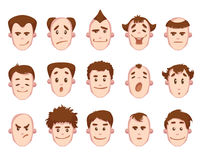 Vector set of man faces with some emotions Stock Photos