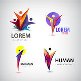 Vector set of man logos, team, family icon. Winner, leader, business logo. Royalty Free Stock Photo