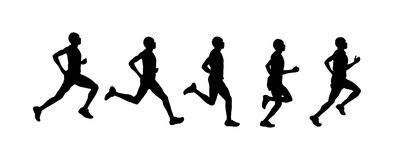 Vector set of man running silhouette. Run silhouette, vector set of man running Stock Photography